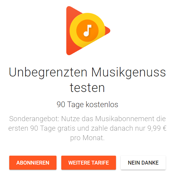 google play music angebot